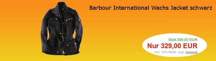 Barbour International Wachs Jacket schwarz